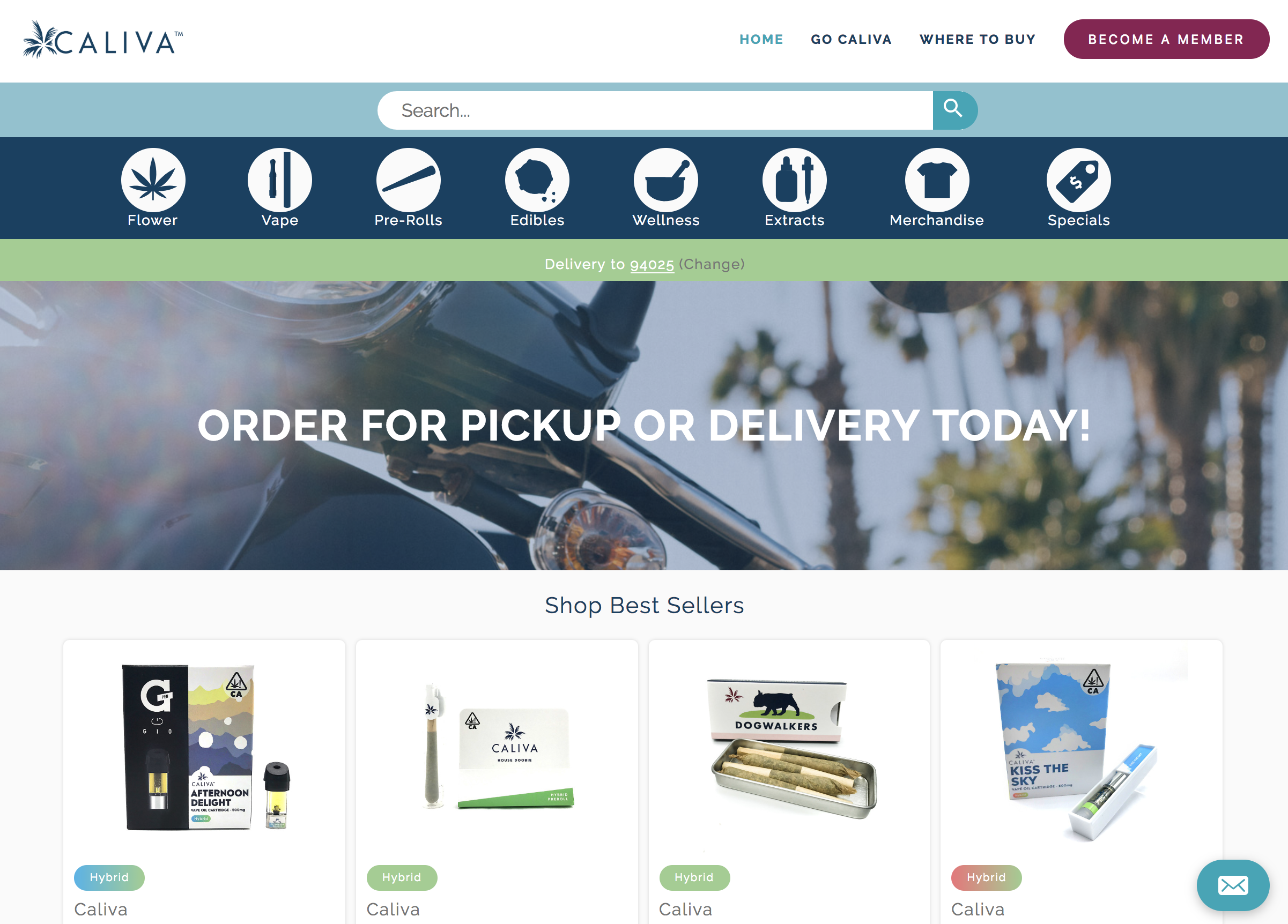 Caliva online delivery menu