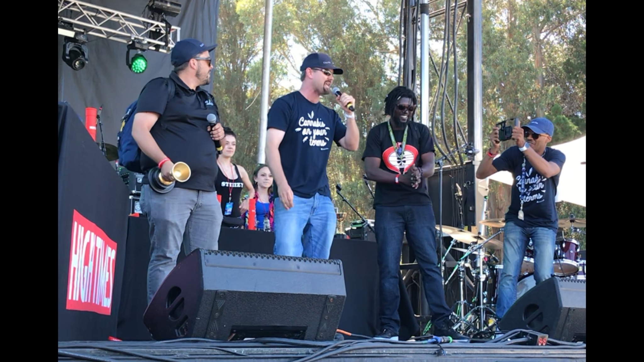 Caliva's cultivation team accepts the award for Best Hybrid Flower at the 2019 High Times Cannabis Cup.
