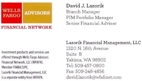 David Lazorik | 509-457-0800 |  david.lazorik@wfafinet.com