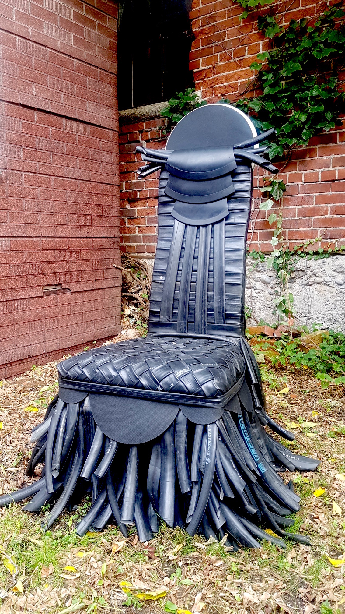 01_What Will Survive Of Us Is Love_2018_chair, bicycle tubes, and rubber drum mats 101.6 x 128.27 x 68.58 cm_$2000 .JPG