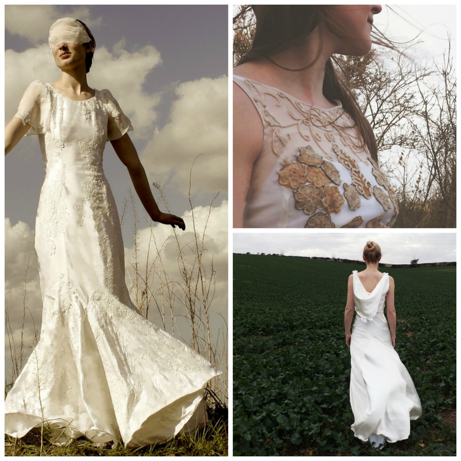 Dresses inspired by (left) stratus clouds, (top right) alto-stratus clouds and (bottom right) trailing roses.