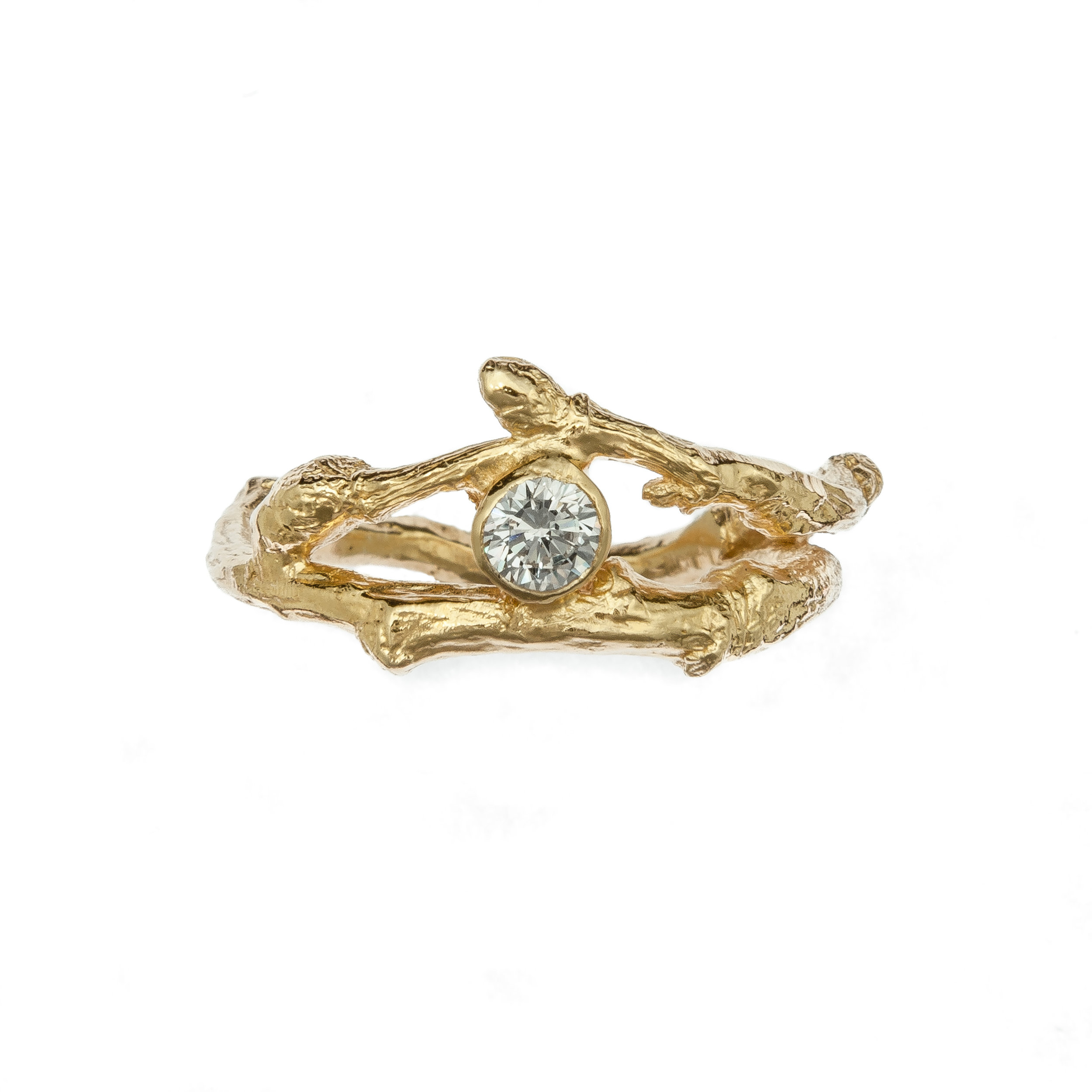 18ct gold budded twig and diamond ring, £2200