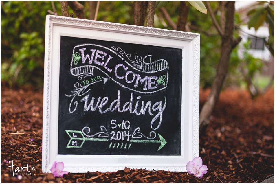 Welcome to our wedding chalkboard sign - Harth Photography