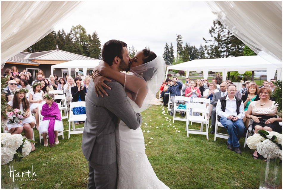 Bride and Groom's First Kiss - Harth Photography