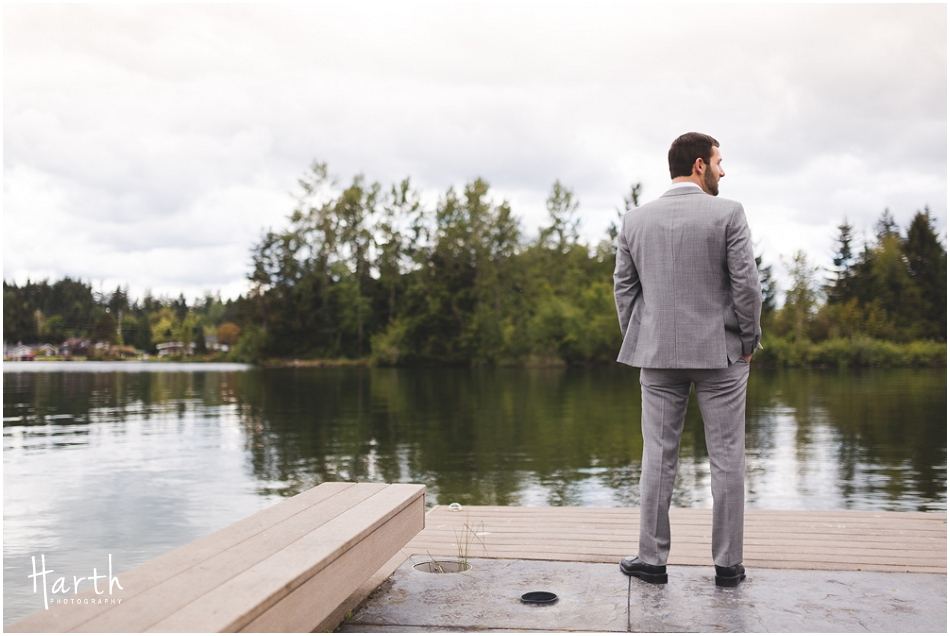 Groom waiting by the lake - Harth Photography