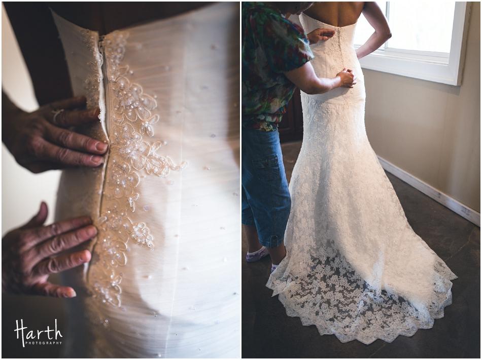Mom zipping up brides dress - Harth Photography
