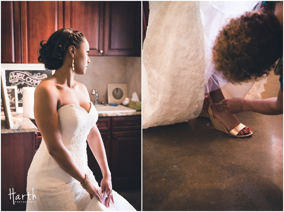 Bride getting into her shoes - Harth Photography