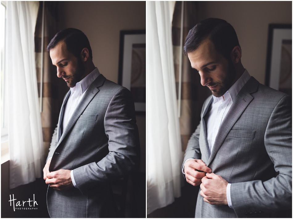 Groom Last Button Up - Harth Photography