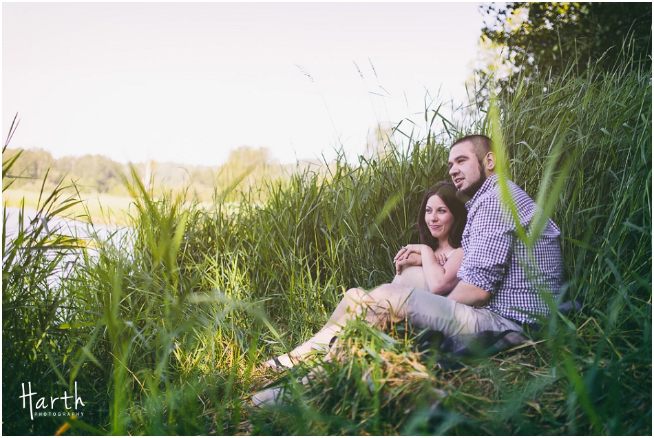 Couple In The Grass Engagement | Harth Photography