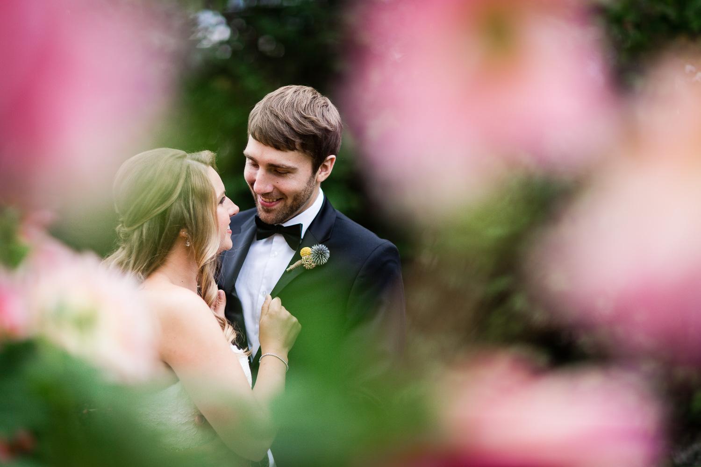 Bride and Groom in Snohomish Flower Garden