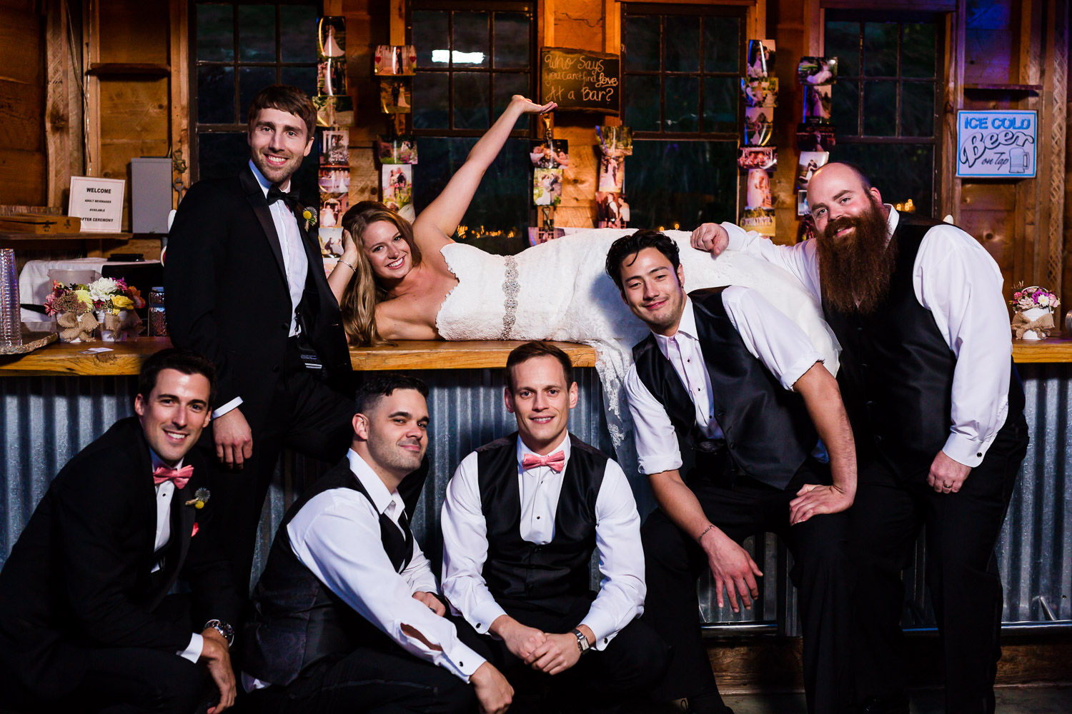 Fun Bar Pose with Bride and Groom - Twin Willow Gardens