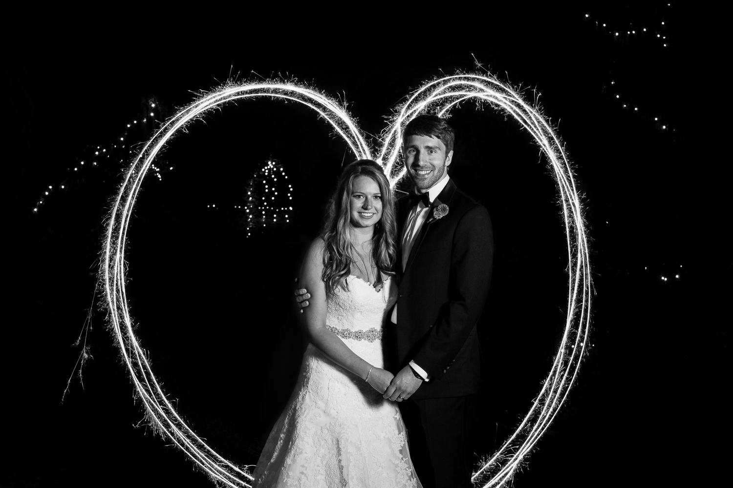 Heart Created With Sparklers Wedding - Twin Willow Gardens