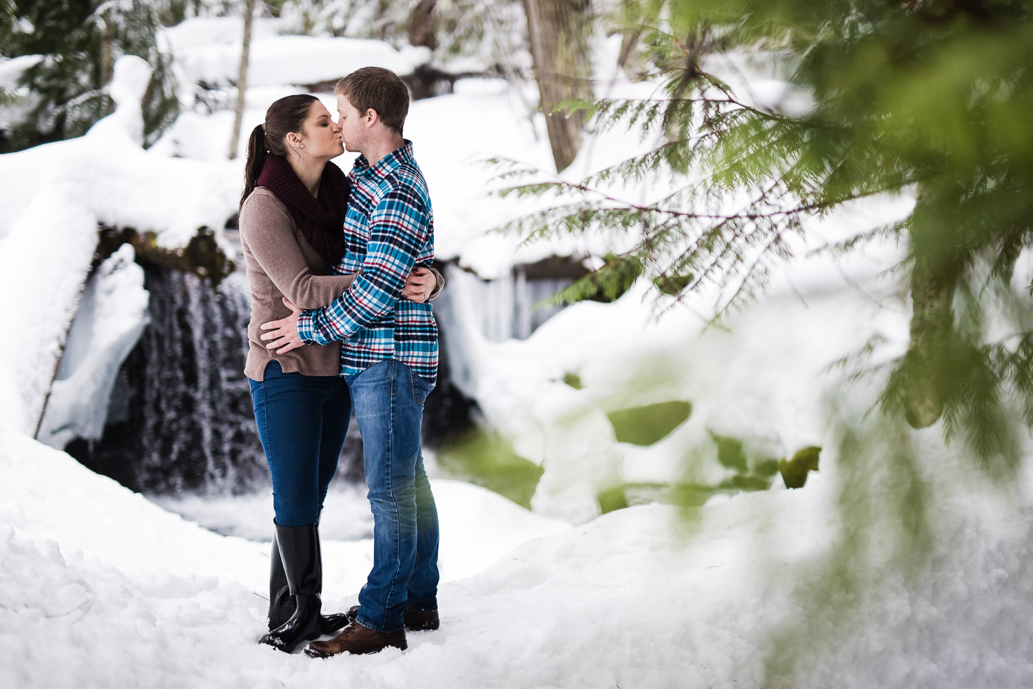 Snoqualmie Falls Winter Engagement