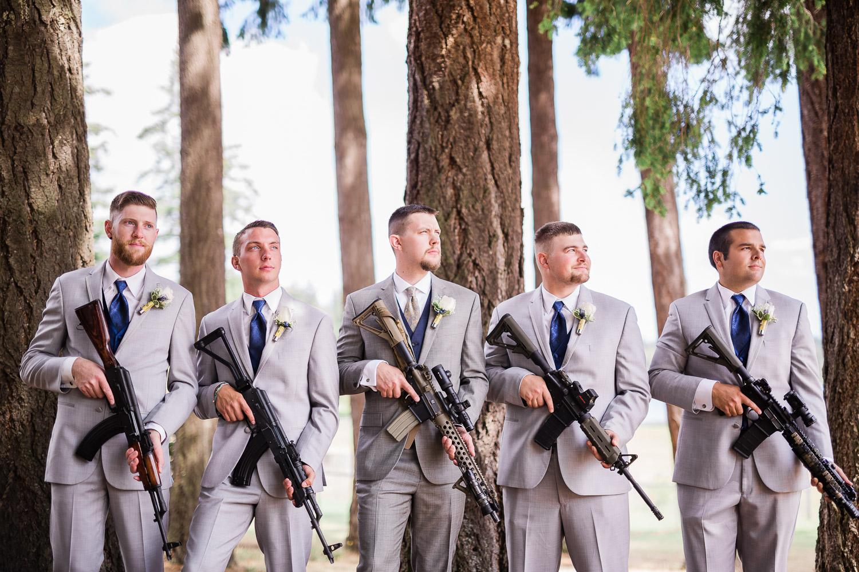 Groomsmen with rifles