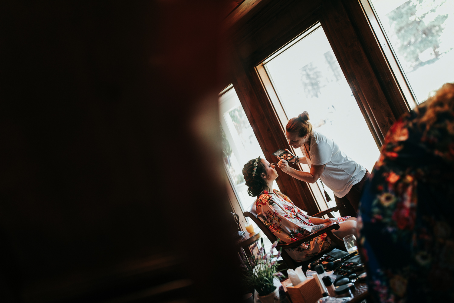 Bride at The Cattle Barn getting ready makeup