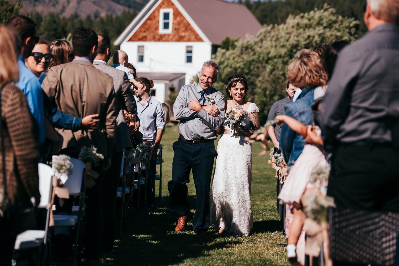Emotion dad with bride at Cle Elum Wedding