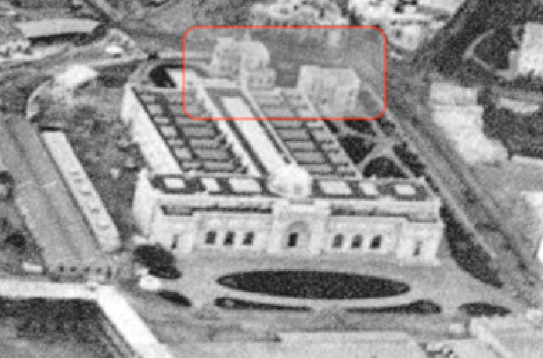 C - Two villas or other structures behind the Egyptian Museum.