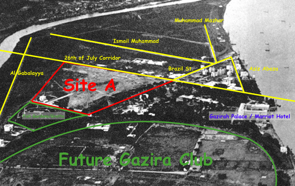 Detail of Spelterini's 1904 Photograph. Red: Site A; Green: Parks and Clubs; Blue: Gazirah Palace/Present-Day Marriot Hotel; Yellow: Modern streets overlaying those present in photo.