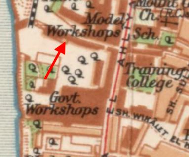 Arrow indicating the wall or structure that seems to be the arches in question. 1920 General Map of Cairo, Egyptian Survey Authority (مصلحة المساحة). Library of Congress.https://www.loc.gov/resource/g8304c.ct002478/?r=0.043,0.24,0.419,0.224,0
