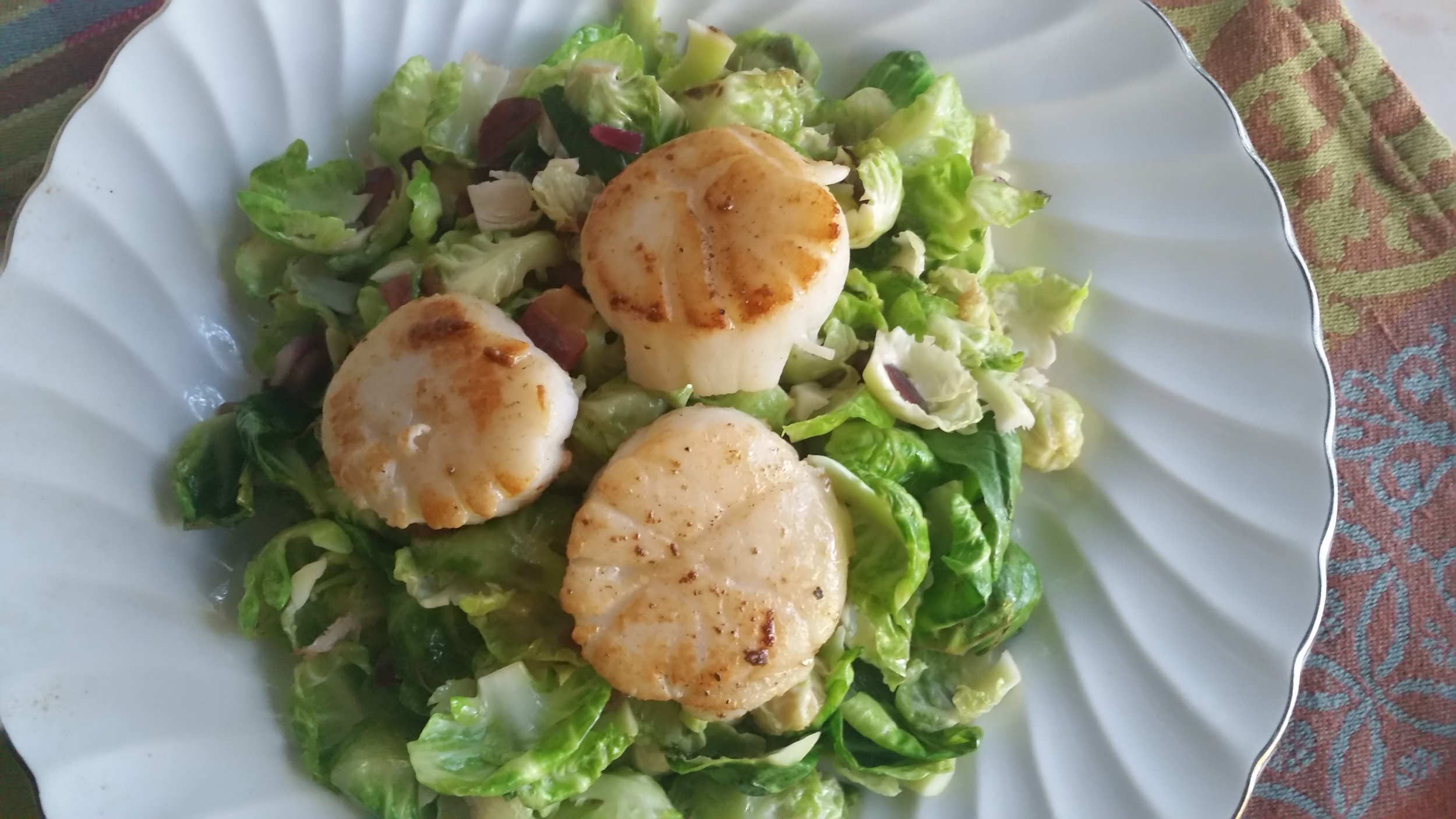 Seared Sea Scallops with Smoked Sea Salt served with Brussels Sprouts