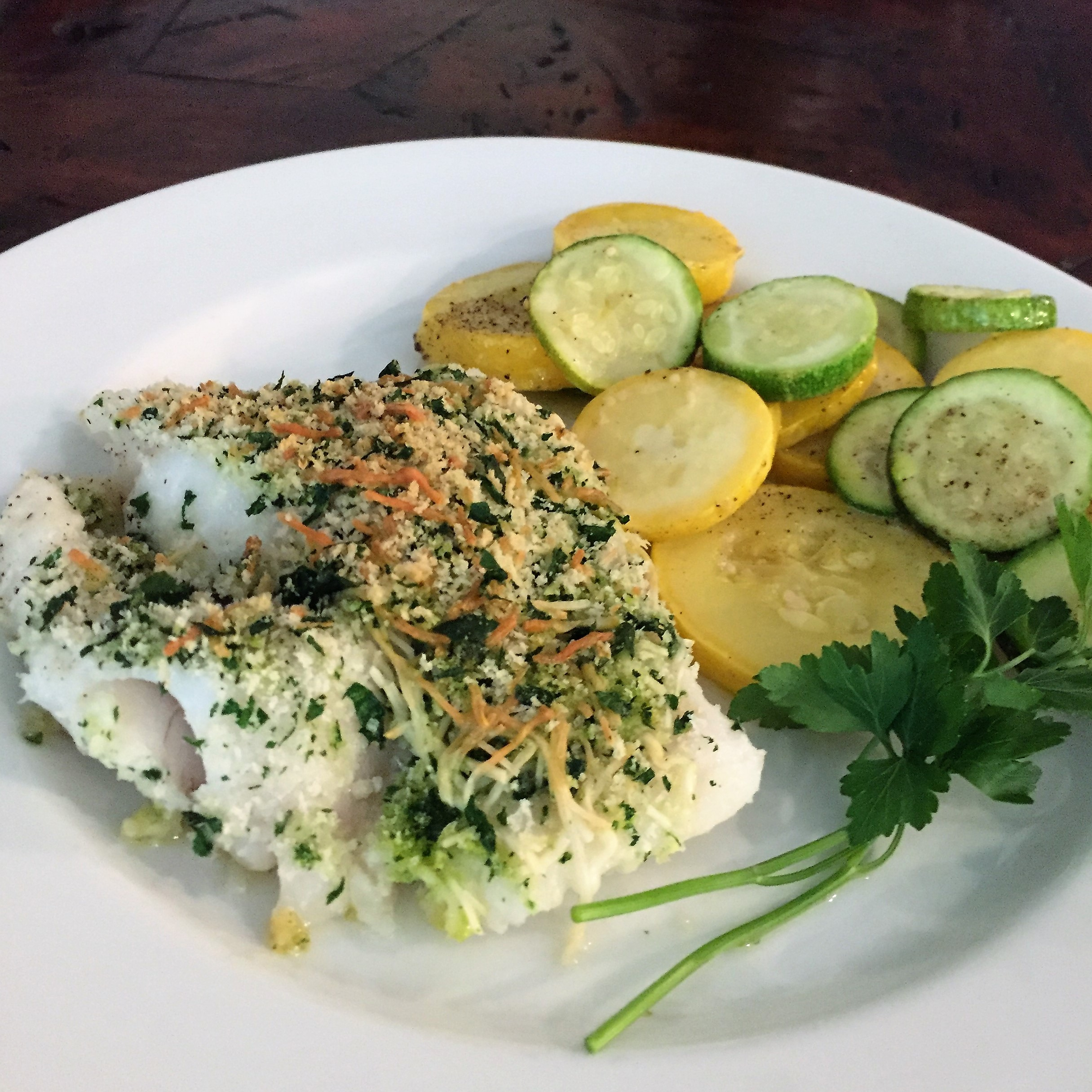 Baked Cod with Parmesan Crust and Garlicky Summer Squash