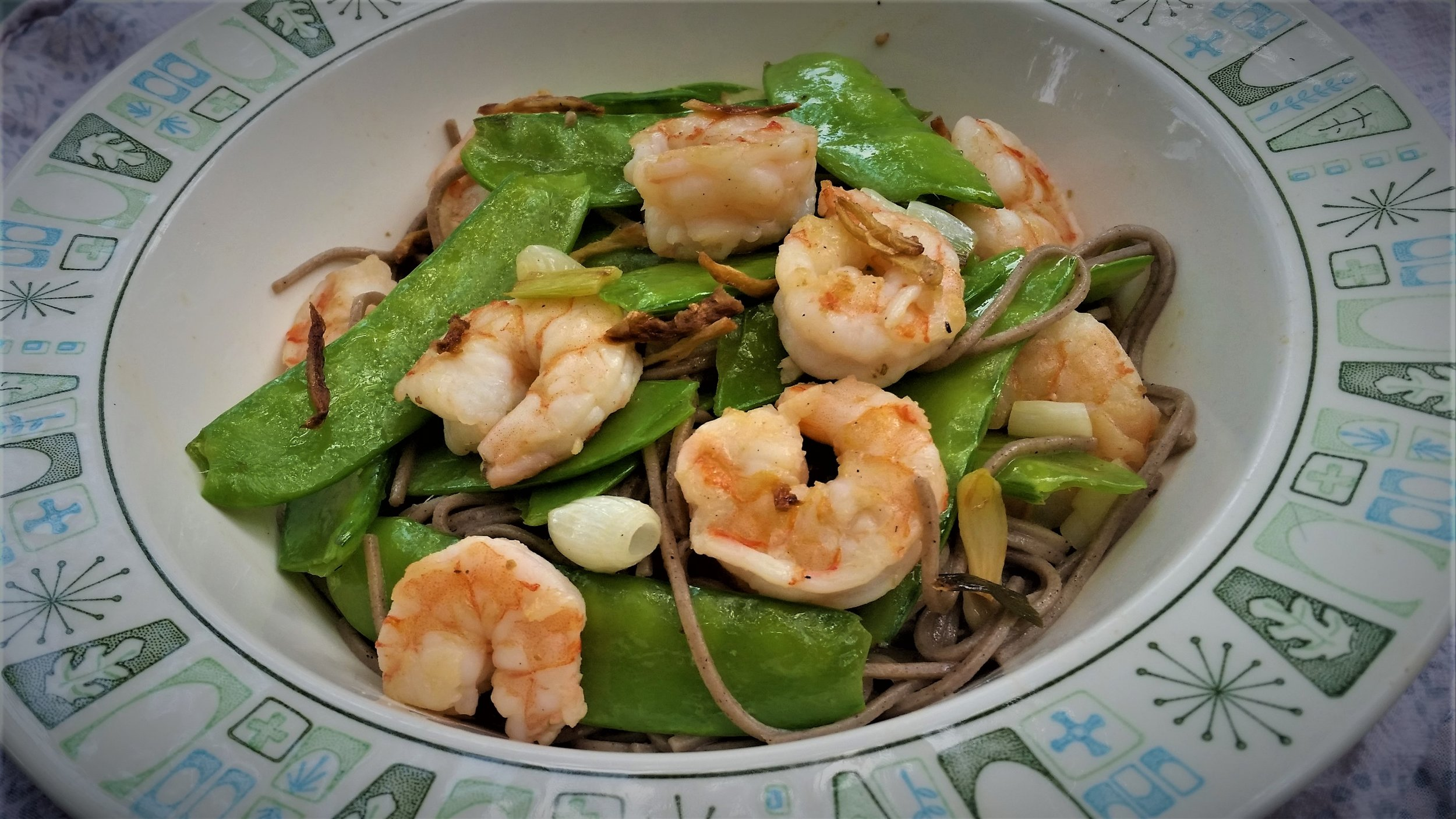 Shrimp with Soba Noodles and Snow Peas