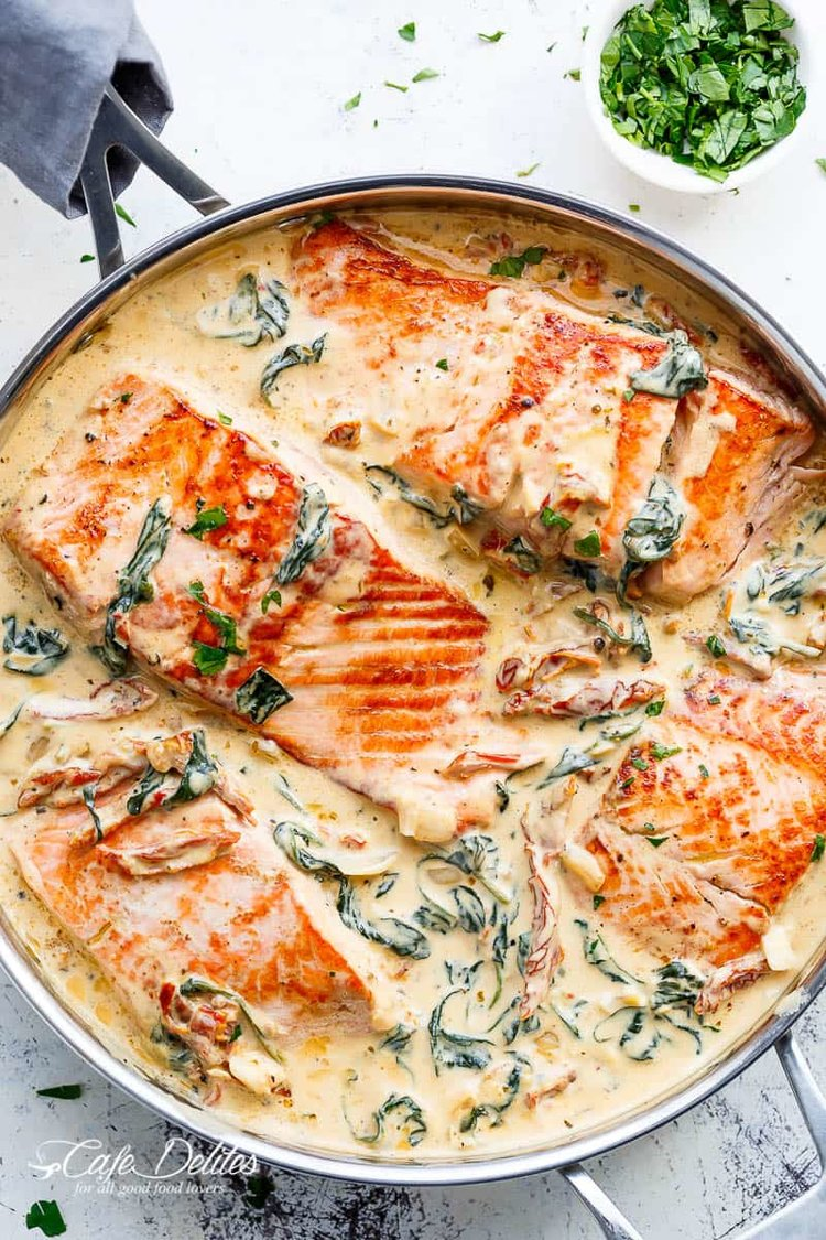 One Pan Salmon with Tomatoes, Cream and Spinach