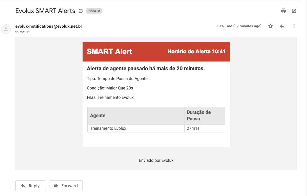 E-mail de alerta de evento.
