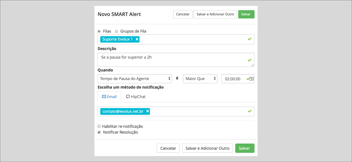 Configurando um Smart Alert