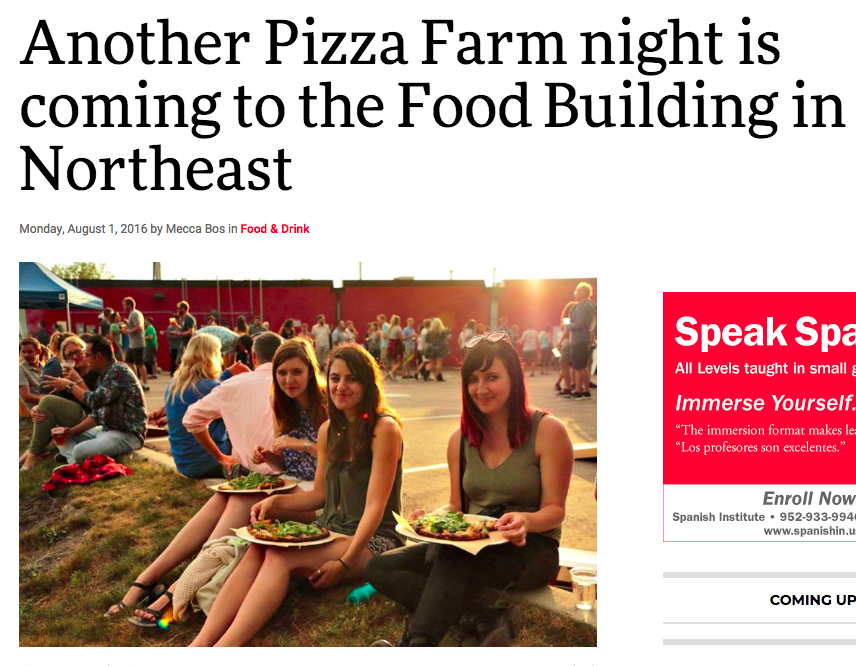 City Pages: Another Pizza Farm Comes to FOOD BUILDING