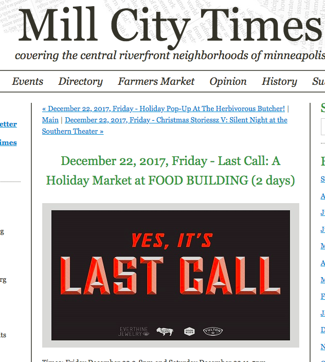 Mill City Times: Last Call: A Holiday Market
