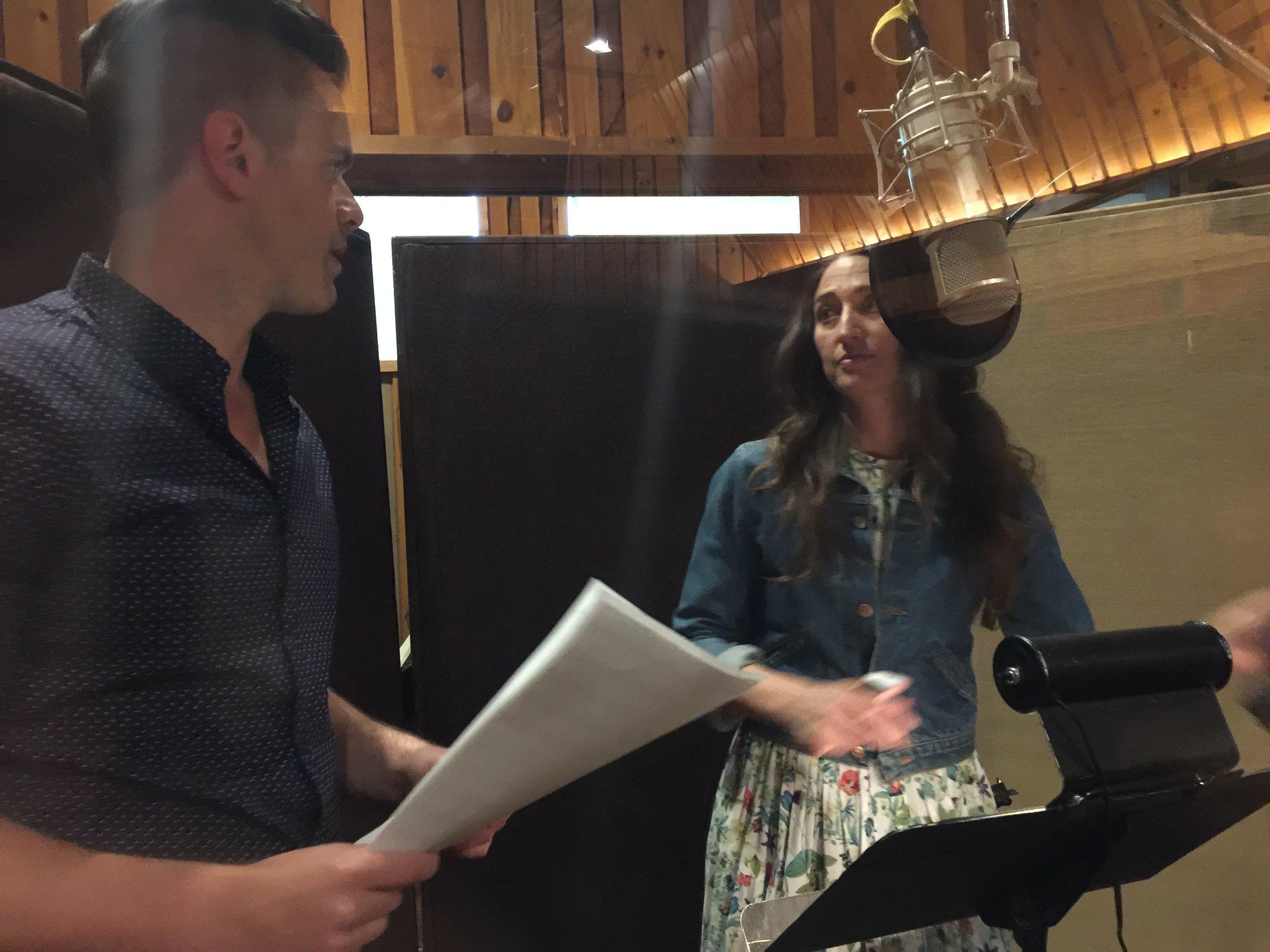Michael J Moritz Jr in the studio with Sara Bareilles