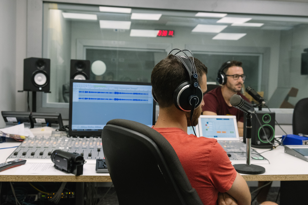 Jewcer melting podcast interview - I interviewed and photographed the podcast hosts of Two Nice Jewish Boys and The Melting Podcast at Israel's public radio station.