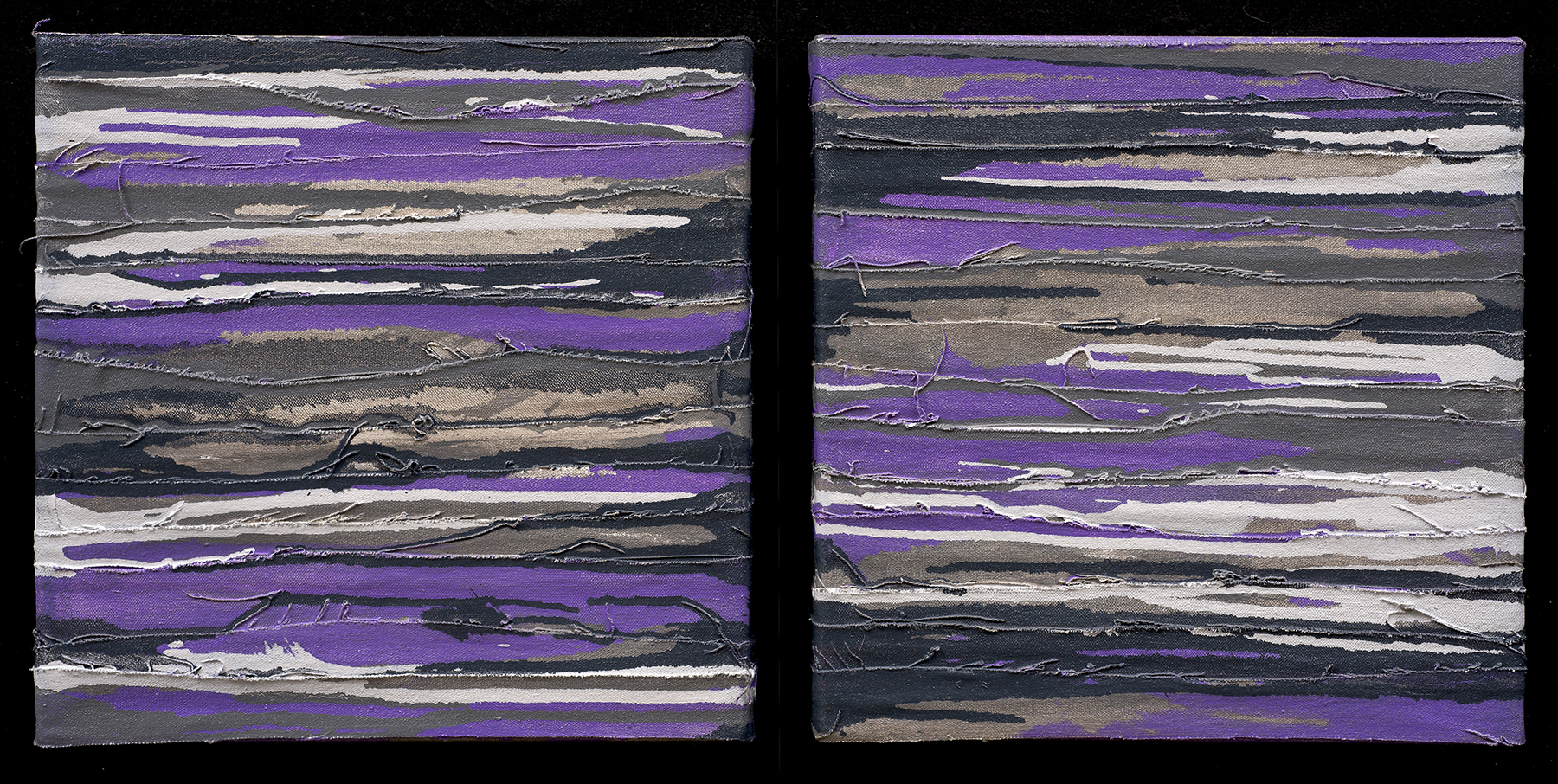 """Mystic Strata I & II"" oil on canvas, 12"" x 12"" each"