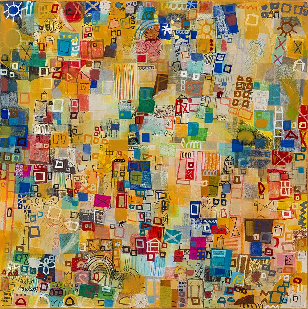 Lisboa Up and Down, mixed media on canvas, 35 x 35
