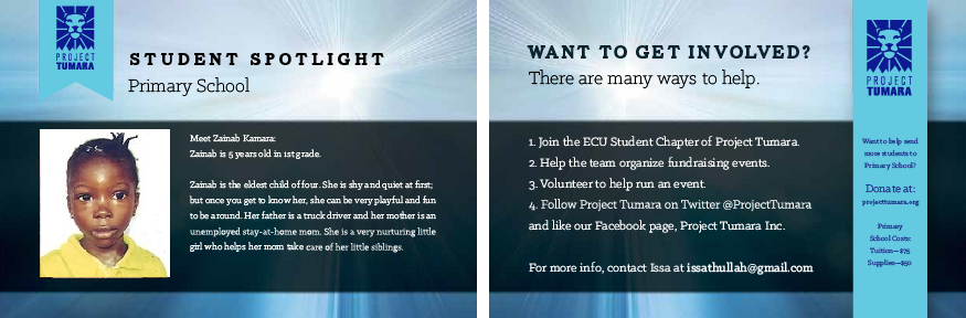 Front and back of postcards for sponsors intended to create a personal connection to students