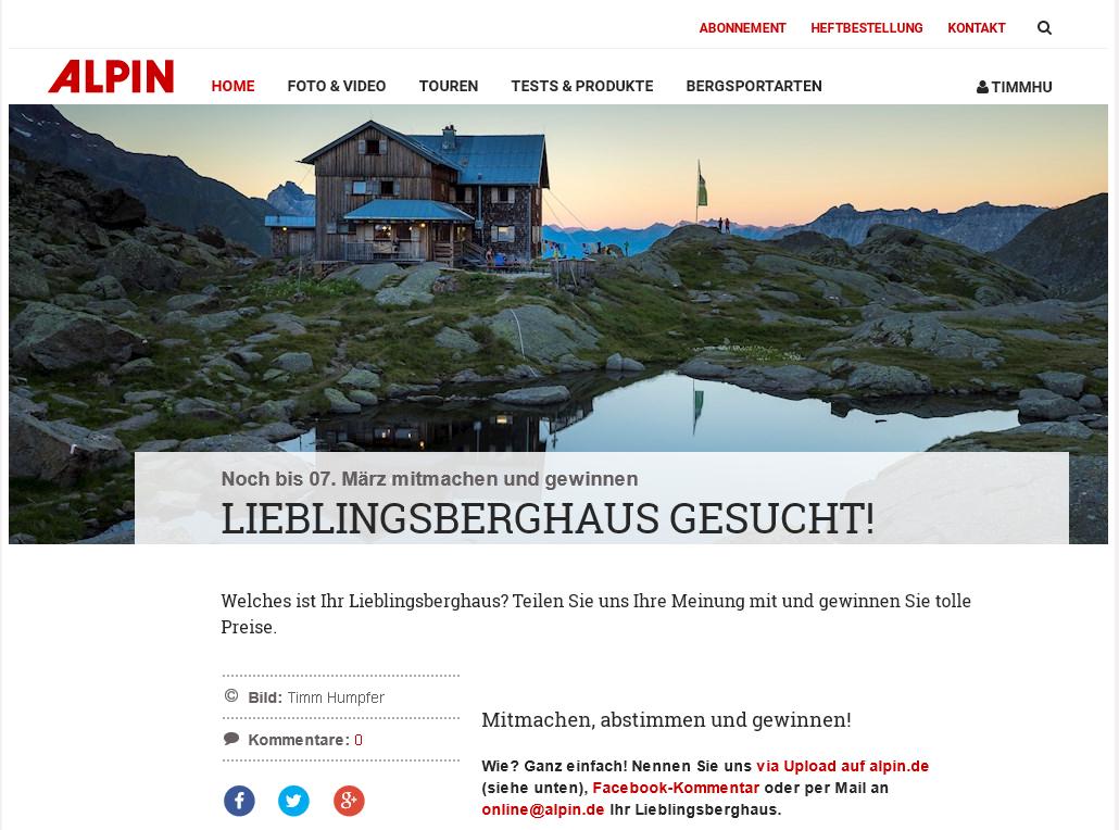 """Auch beim ALPIN Magazin war sie das Titelbild für die Wahl zum """"Lieblingsberghaus""""."""