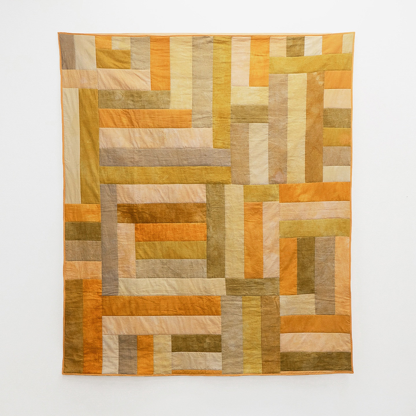 "Golden Hour  | linen and cotton, naturally dyed with onion and iron | 60"" x 70"""