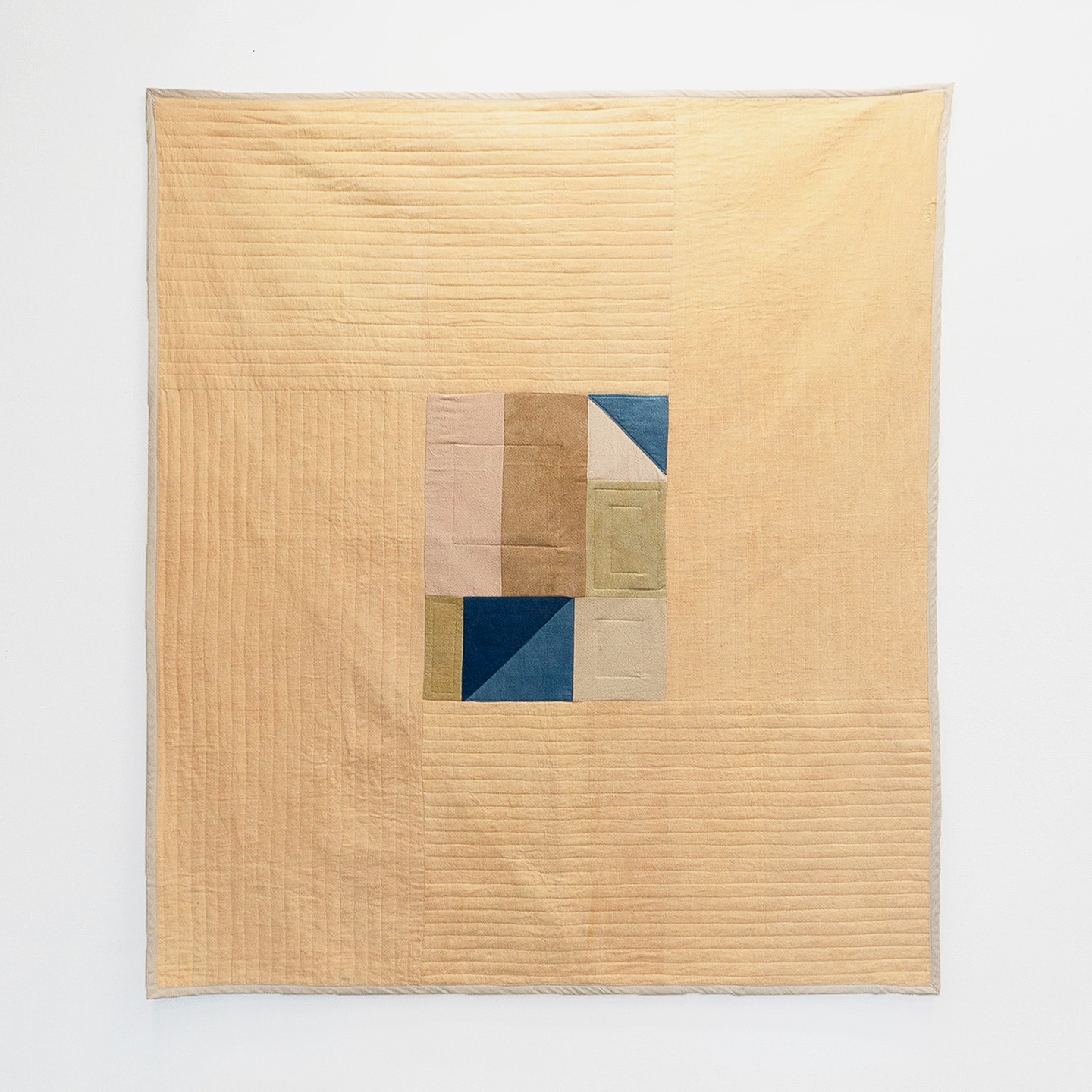 "Earthen City  | linen and raw silk, naturally dyed with clay, walnut hulls, indigo, moss, and acorns | 60"" x 70"""