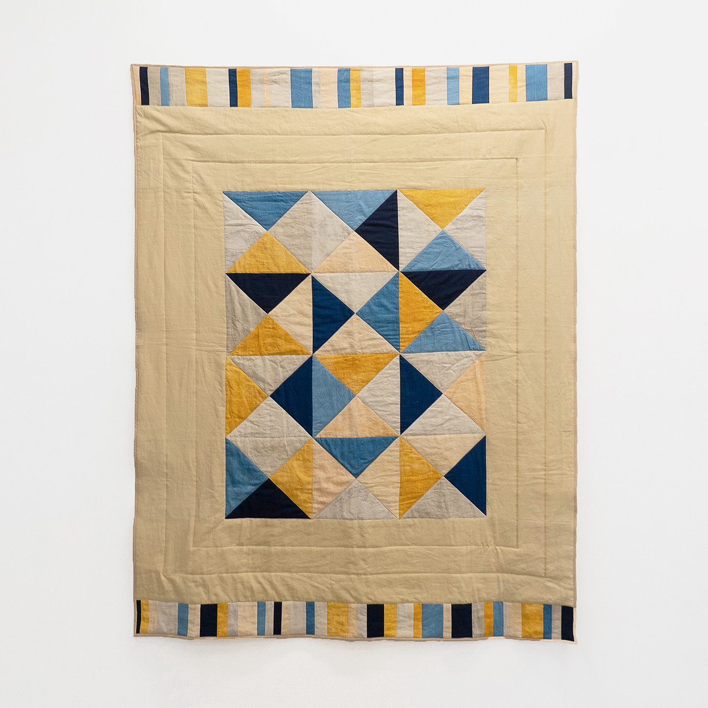 "Summer Day  | linen and cotton, naturally dyed with shallot and indigo | 50"" x 60"""
