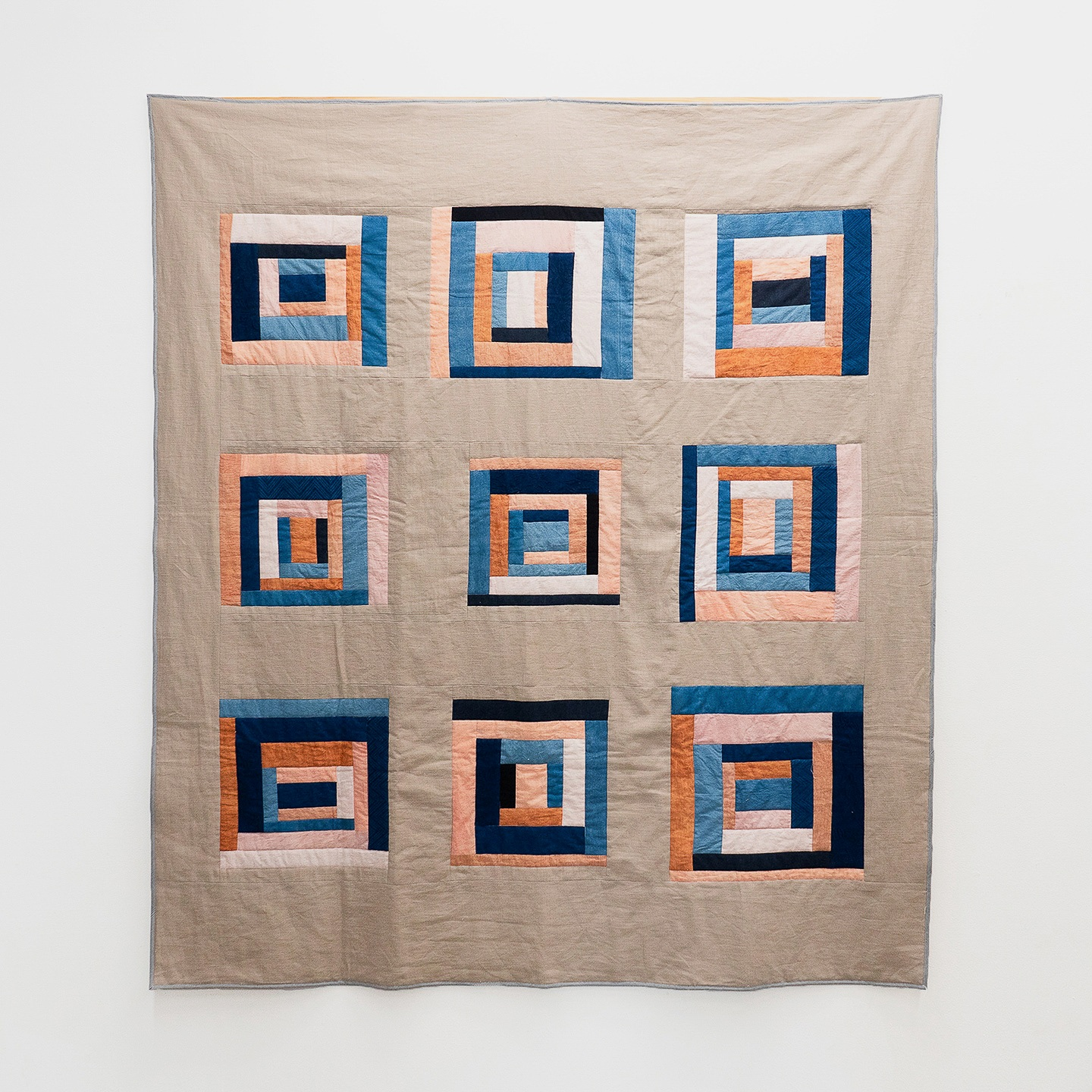 "Nine Courthouses  | linen and cotton, naturally dyed with indigo and madder | 60"" x 70"""