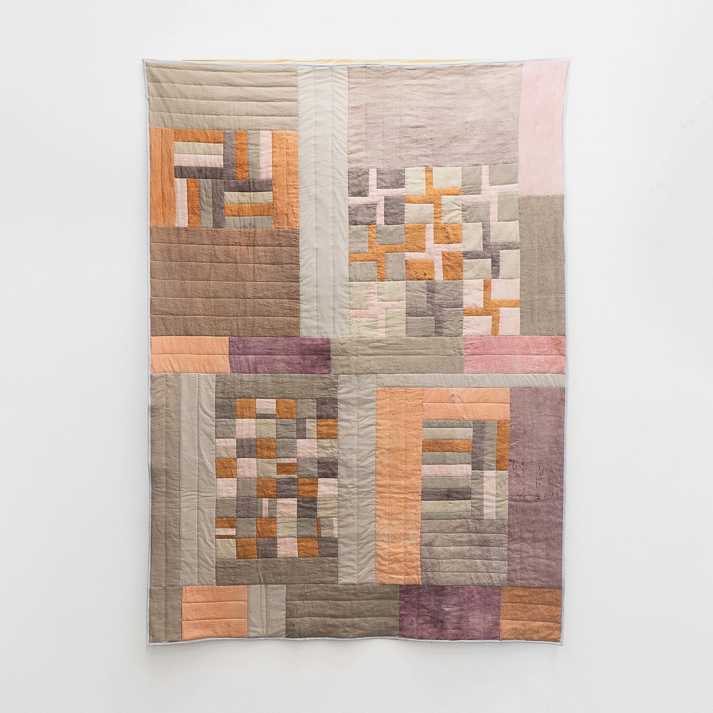 "Playing with Blocks  | linen and cotton, naturally dyed with brazilwood and madder | 50"" x 60"""
