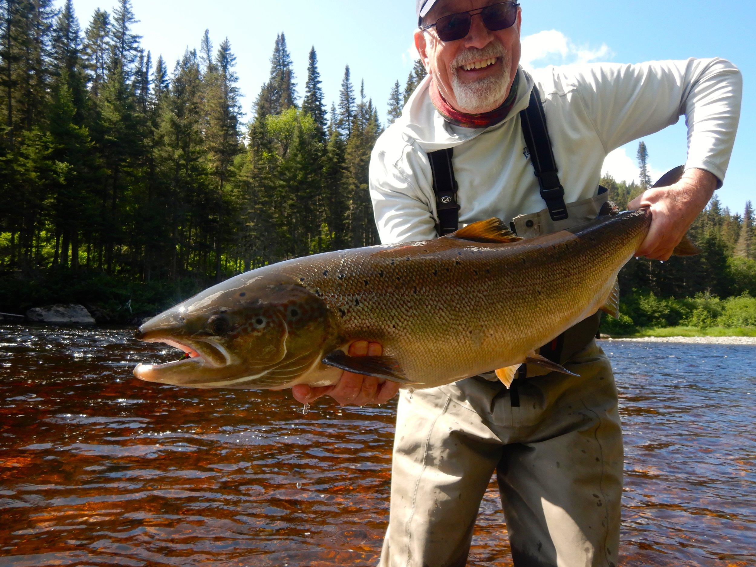 C'est toujours un plaisir de recevoir notre cher ami Michael Kendrick à Salmon Lodge.Le voici lors de sa première journée de pêche avec une superbe prise qu'il a remise dans la Cascapédia. Félicitations, Michael!
