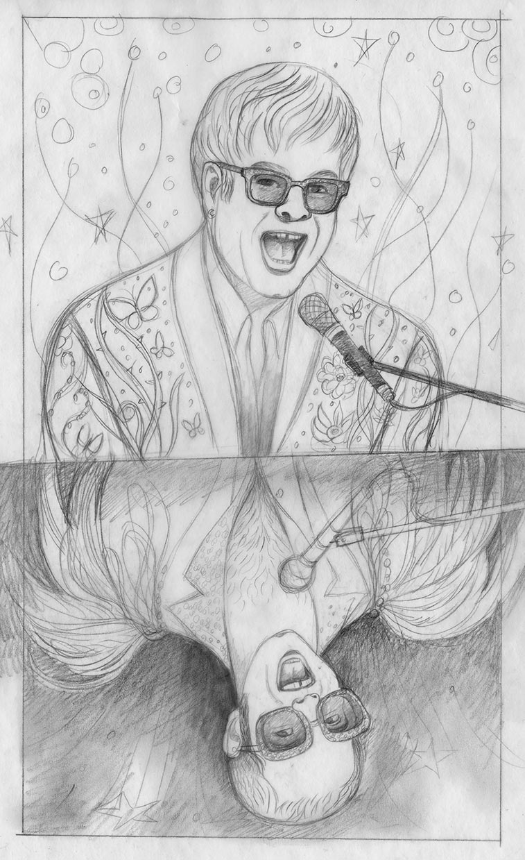 Sketch 2: a reflection of a 1970's Elton in his fantastic Bob Mackie feather outfit