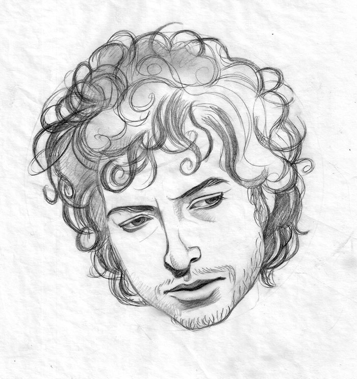 Pencil study of Dylan's head