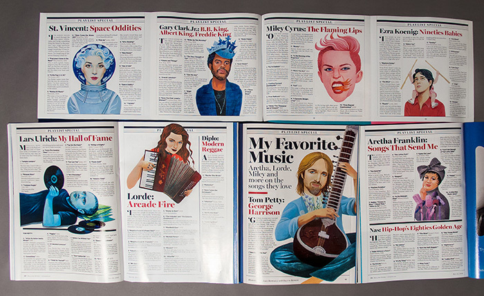 The Playlist Special is a fold out, so this photo is comprised by displaying 4 issues laid out to show all the final printed pieces. Rolling Stone issue #1209