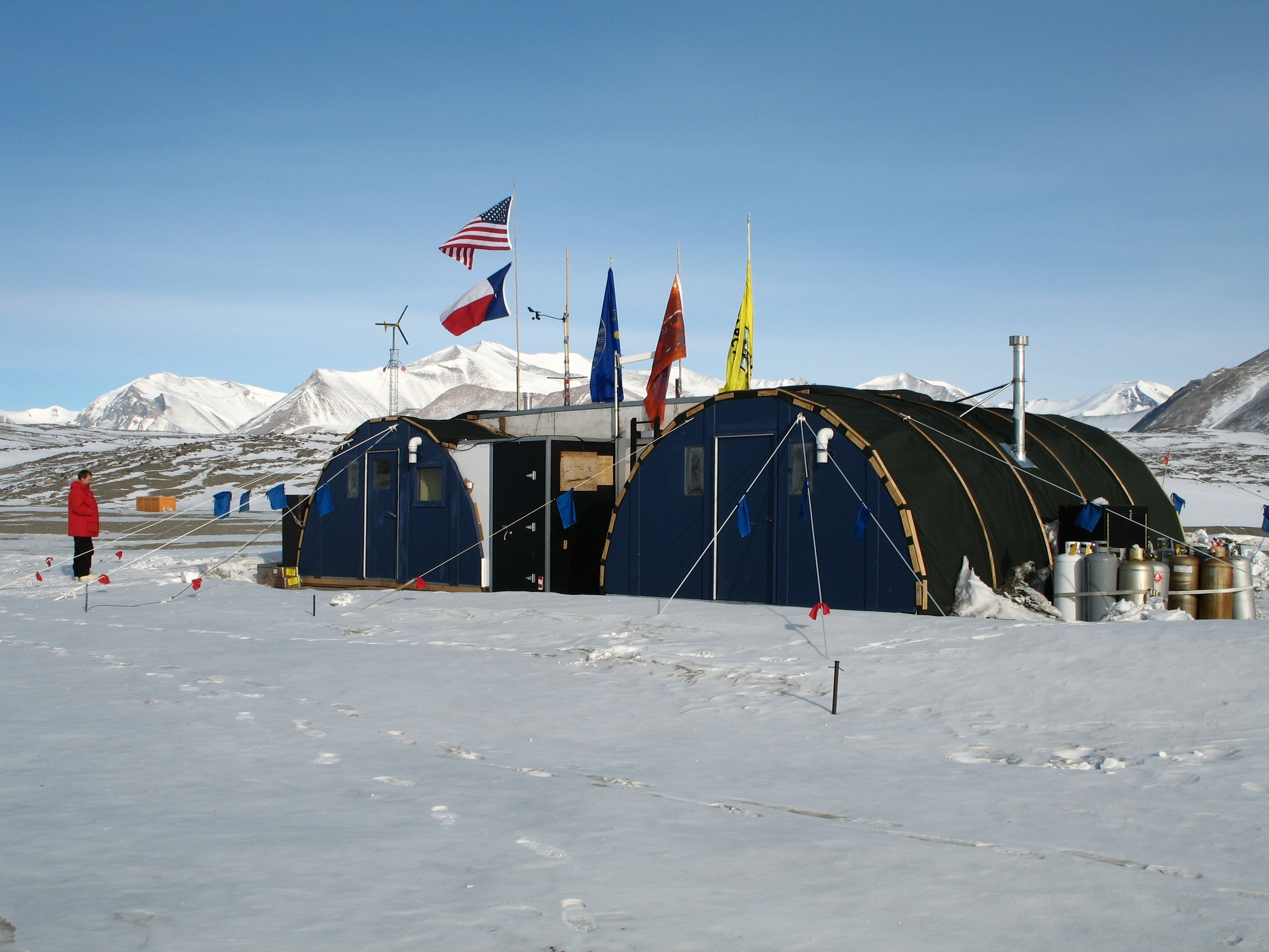 The field camp at New Harbor, about 30 miles from McMurdo Station, where our team occasionally dives.