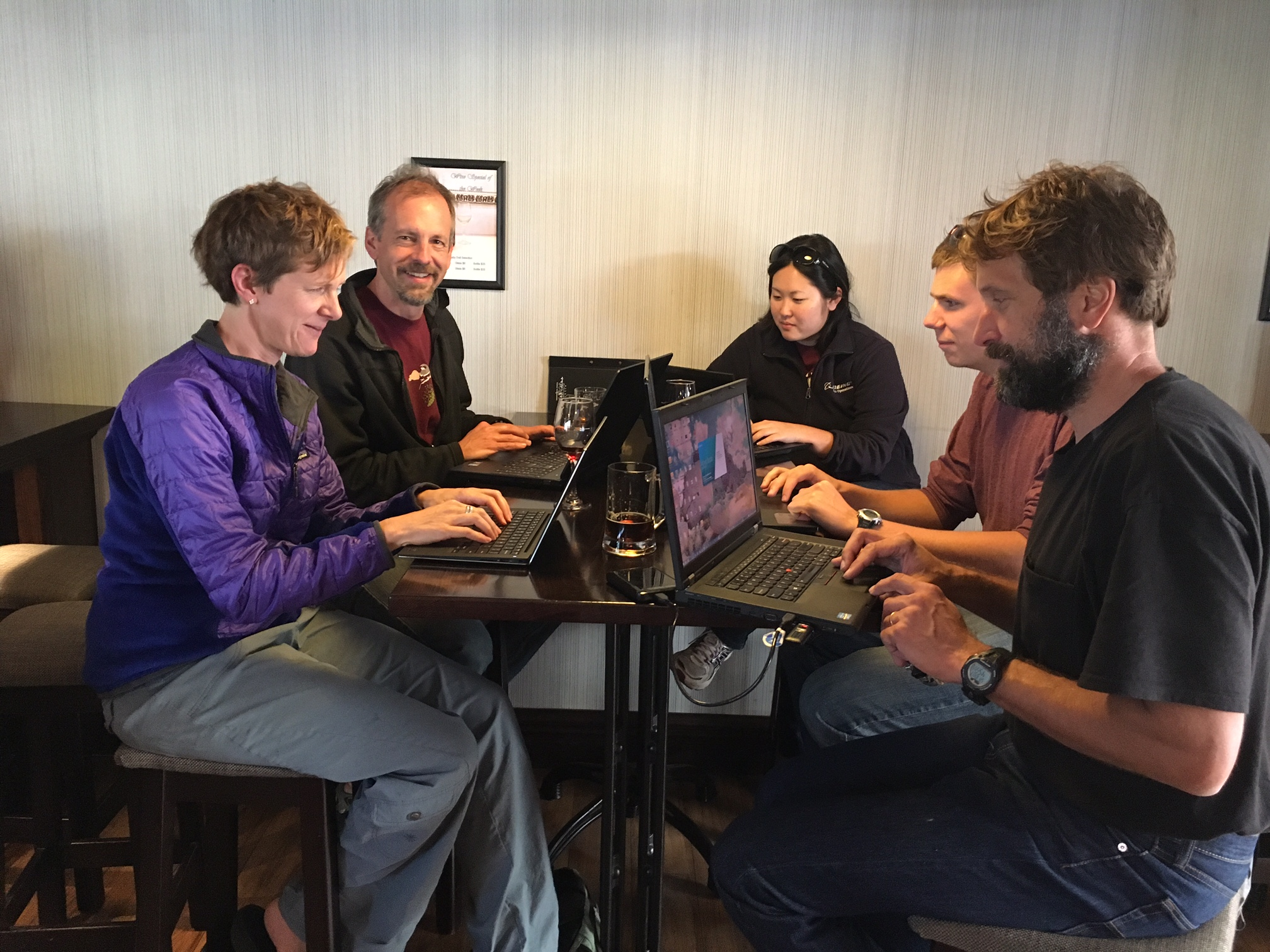 The crew working communally on the web page at our hotel in Christchurch.  So far our flight to McMurdo has been delayed by two days, a common occurrence due to bad weather at McMurdo.
