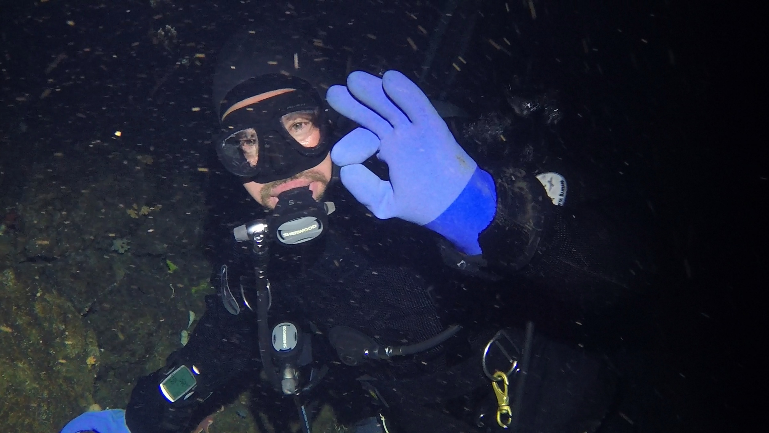 """Art Woods giving the """"OK"""" sign after setting up the data loggers."""
