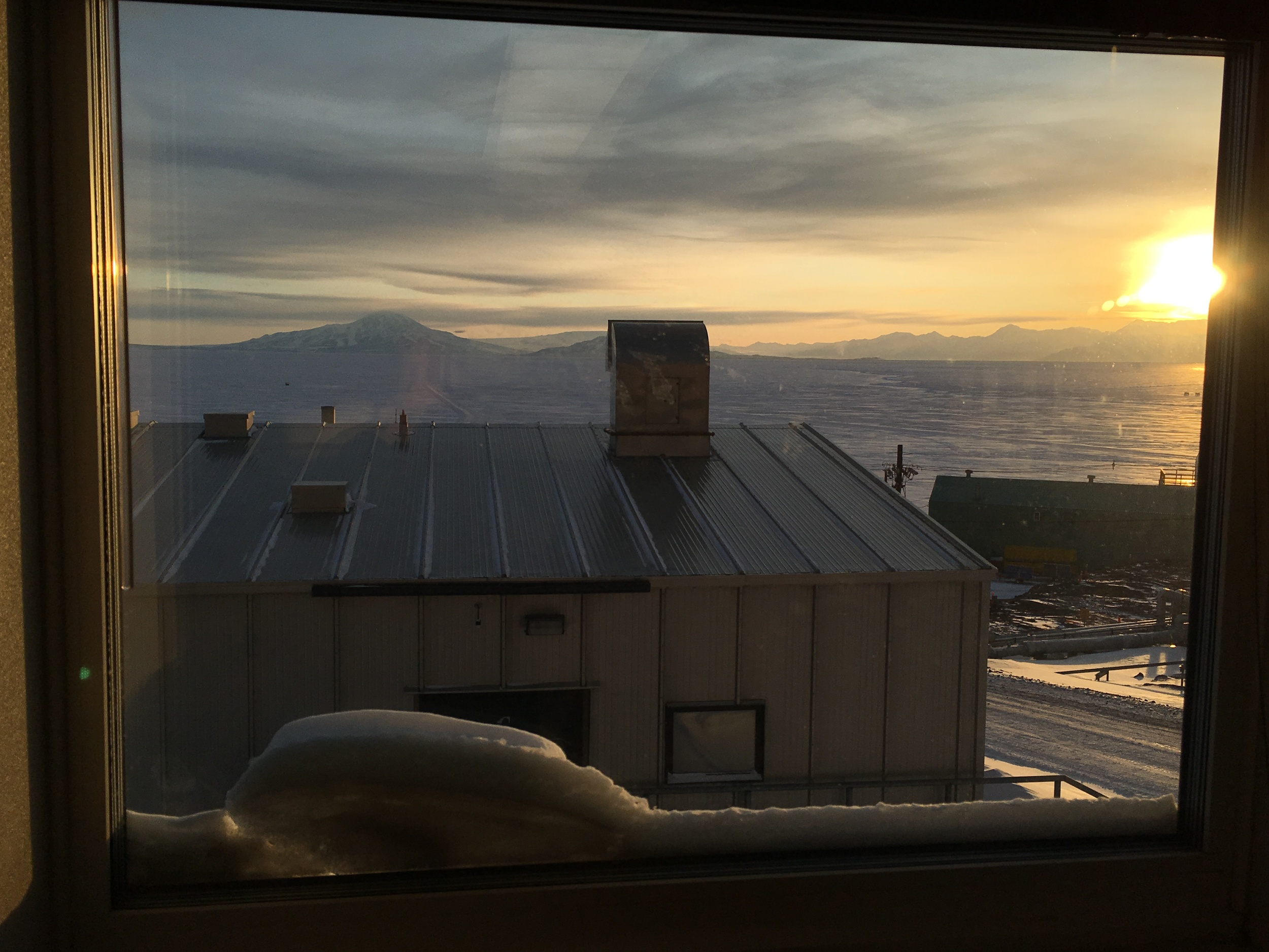 McMurdo Sound, Mt. Discovery, and the Royal Society Range viewed out the window of our lab in the Crary building.  The last sunset of the year is on Saturday Oct. 24th at 1:09 AM, after which we will have 24-hour sunlight.